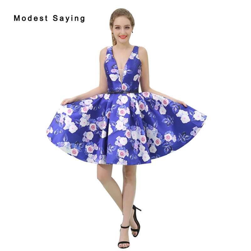 Sexy Blue Deep V Neck Floral Print Short   Cocktail     Dresses   2017 Girls Formal Mini Homecoming Prom Gowns vestidos de coctel B041