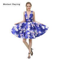 Sexy Blue Deep V Neck Floral Print Short Cocktail Dresses 2017 Girls Formal Mini Homecoming Prom Gowns vestidos de coctel B041