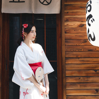 Women's Vintage White Color Dress Japan Traditional Kimono Summer Yukata Robe Cosplay Clothing Performing Wear