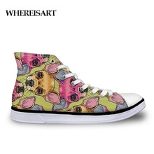WHEREISART Chihuahua Print Mens Shoes Casual Vulcanize Canvas High Top Lace Up Running Men Erkek Walking Flats Spring Breathable недорого