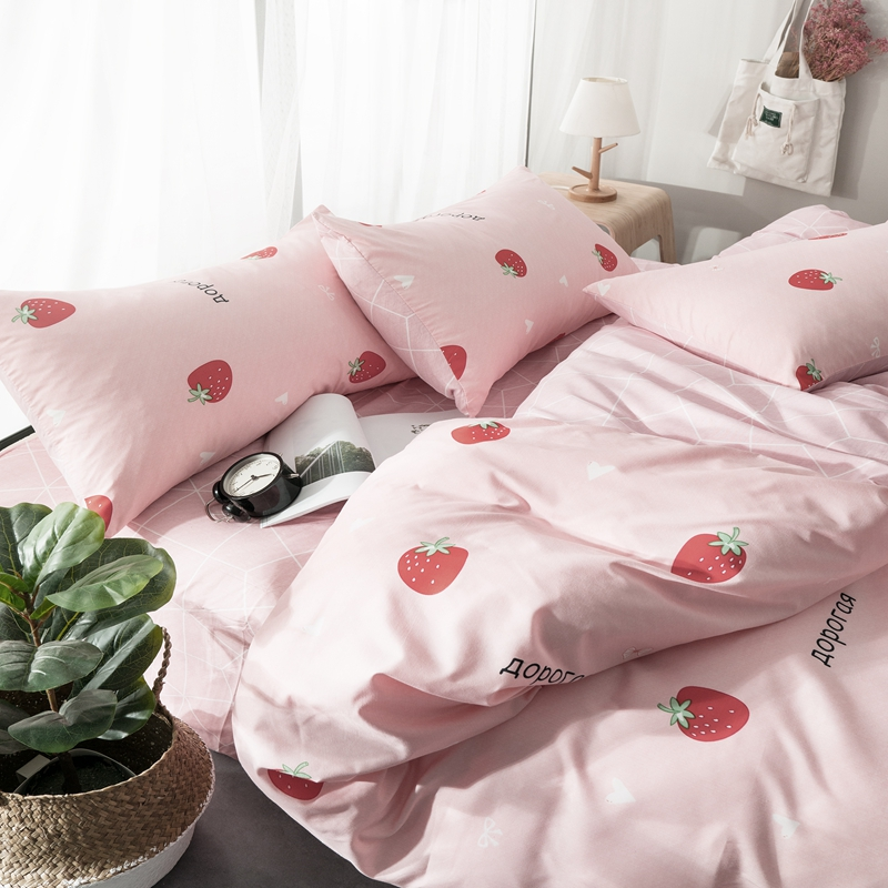 Sweet Princess Pink Strawberry Bedding Set Lovely comforter cover Russian bed set Women 39 s Girls cute bedclothes flat linen sheet in Bedding Sets from Home amp Garden
