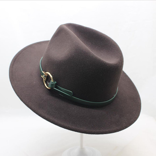 b15a84417bb SUOGRY Winter Fedora Hat with women s Wide-Brimmed Metal Strap Felt Men  Fedora Hat Panama