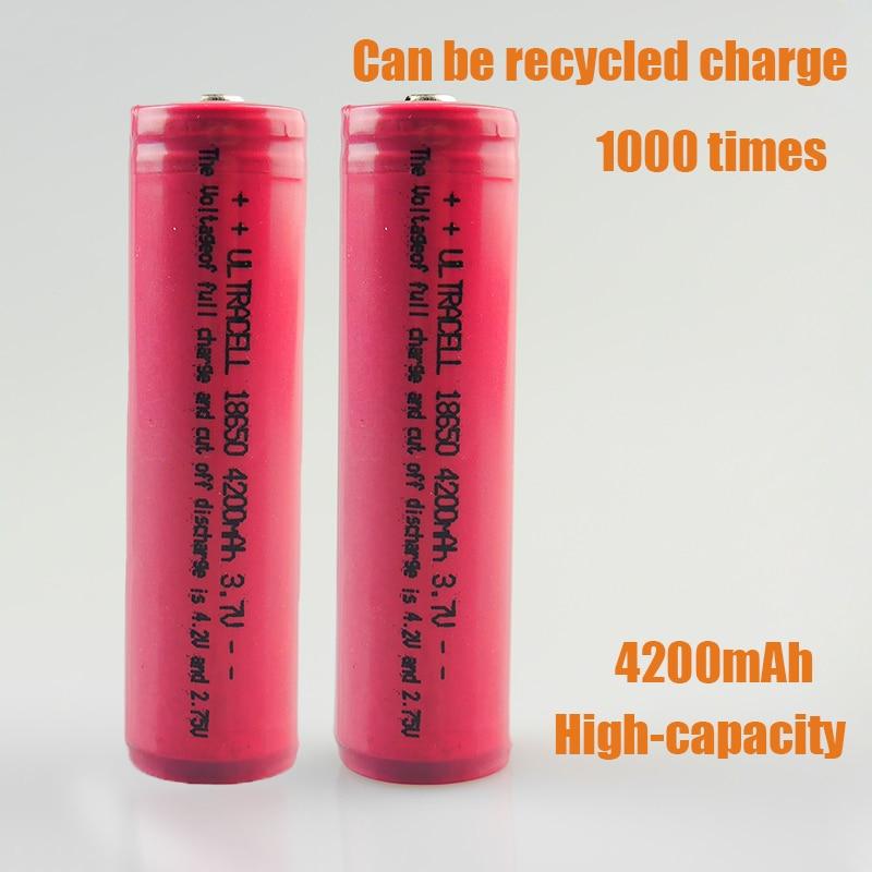 2pcs lot 100 Original 18650 Battery 4200mAh Li ion 3 7v Battery 18650 rechargeable Battery FOR