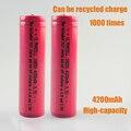 2pcs/lot  100% Original 18650 Battery 4200mAh Li-ion 3.7v Battery 18650 rechargeable Battery FOR Laser pen light flashlight