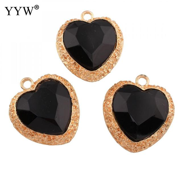 Aliexpress buy acrylic pendants for necklace zinc alloy with acrylic pendants for necklace zinc alloy with black acrylic heart love gold color plated for jewelry mozeypictures Image collections