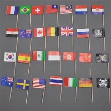 5000 Pieces Wooden Flag Picks Party Sticks 6.5cm USA UK Australia Canda Germany New Zealand Belgium Switzerland France Ireland