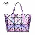 Leatury Grande Tote Sacos de Marca para As Mulheres 2016 Moda Geometria Diamante bolsa de Laser Colorido Saco Bao Bao Baobao Saco de Dobramento