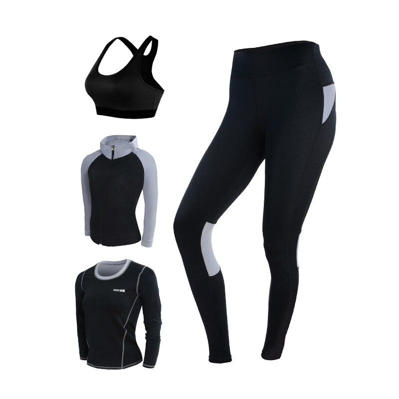 Yoga ensemble femmes Yoga vêtements noir Sport soutien gorge + pantalon + t shirt + manteau 4 pièces Fitness course Sport costume Gym vêtements Sportswear