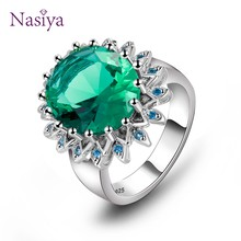Vintage Emerald Rings For Women Silver 925 Fine Jewelry Oval Gemstone Flower Shape Luxury Anniversary Wedding Rings Size 6-10(China)
