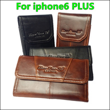 Free Shipping Genuine Flip Leather Case Pouch Holster Belt Clip Cover For Apple iPhone 6 Plus