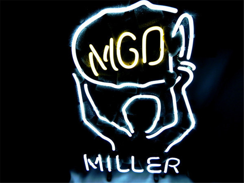 NEON SIGN For MILLER LITE MGD Signboard REAL GLASS BEER