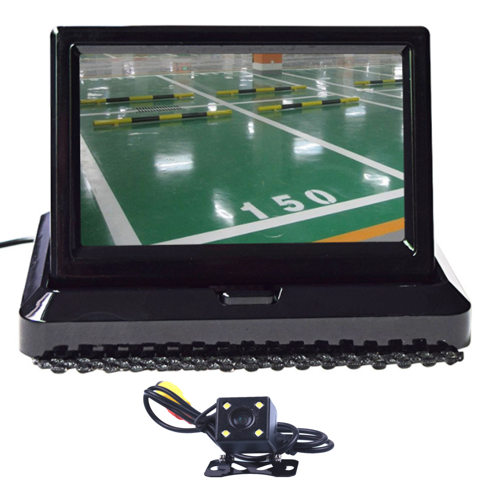 HD CCD 5.0 Color Car Display 5 Inch Folding New Digital 2 Channel Video Input DVD Player DC 12/24V And 4 LED Rearview Camera