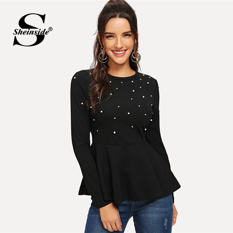 Sheinside Pearls Beaded Solid Peplum Top Black Blouse Women Long Sleeve Shirts Ladies Tops And Blouses 2018 Flared Autumn Shirt