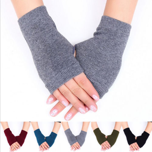 Women Fingerless Gloves Winter Warm Half Finger Ladies Knitted Mitten Gloves UK