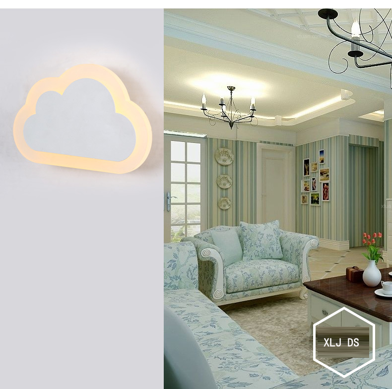 Dia.25cm White Cloud shape LED wall lamp bedside modern living room corridor hallway stairs lights Pathway Sconce Lighting