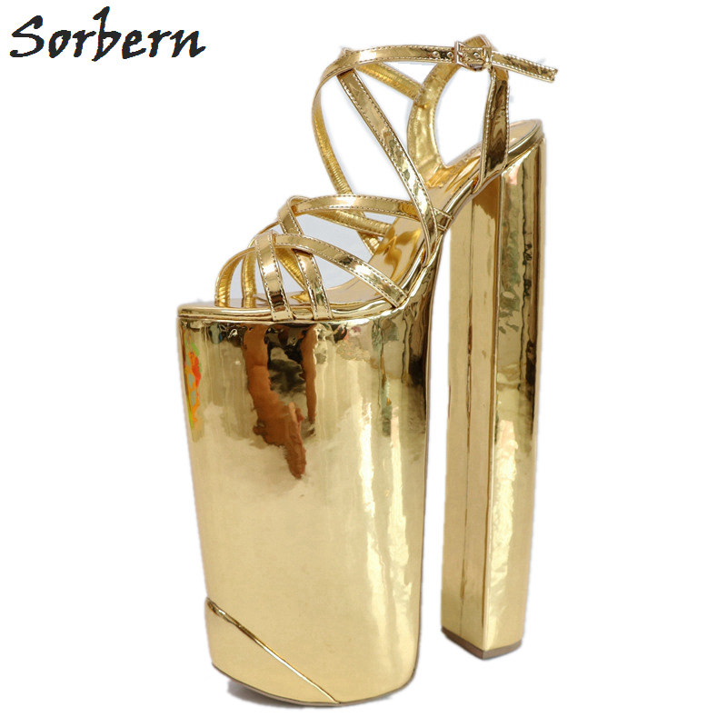Sorbern Gold Shiny Women Sandals Extreme Chunky Heeled Thick Platform Summer Shoes Show Display Sandals Slingbacks DIY Heels