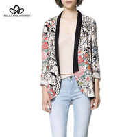 2015 Spring Autumn Wholesale Retro Vintage Oriental Birds Flowers Floral Print Long Sleeve Long Blazer Jacket