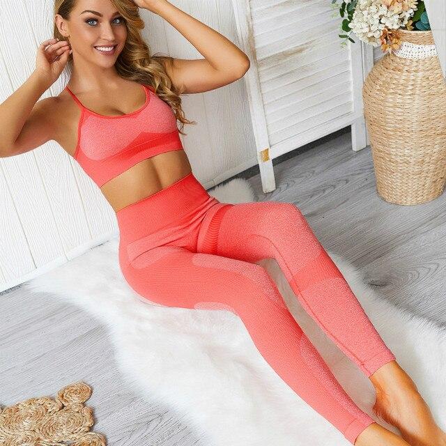 Colorvalue 2 יח'\סט נמתח חלקה ספורט כושר חליפות נשים מהירה יבש אימון ריצה סטי בטן בקרת חותלות Activewear