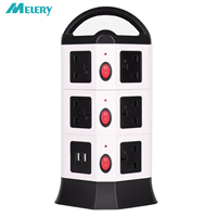 Vertical Power Strip Adapter Extension Surge Protector 6/10 Outlets Plug Socket with USB Individual Switch Extension Cord 6.5Ft