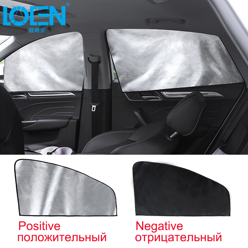 Auto Front/Rear Window Magnetic Sunshade Car Side Curtians Easy Installation Plaid Silver Foldable UV Protection Sun Shade Child
