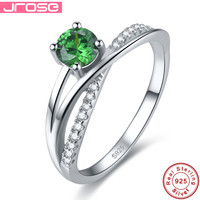 Jrose Round 1 1ct Green Russian Nano Emerald Solitaire Engagement Rings 925 Sterling Silver Ring Fine