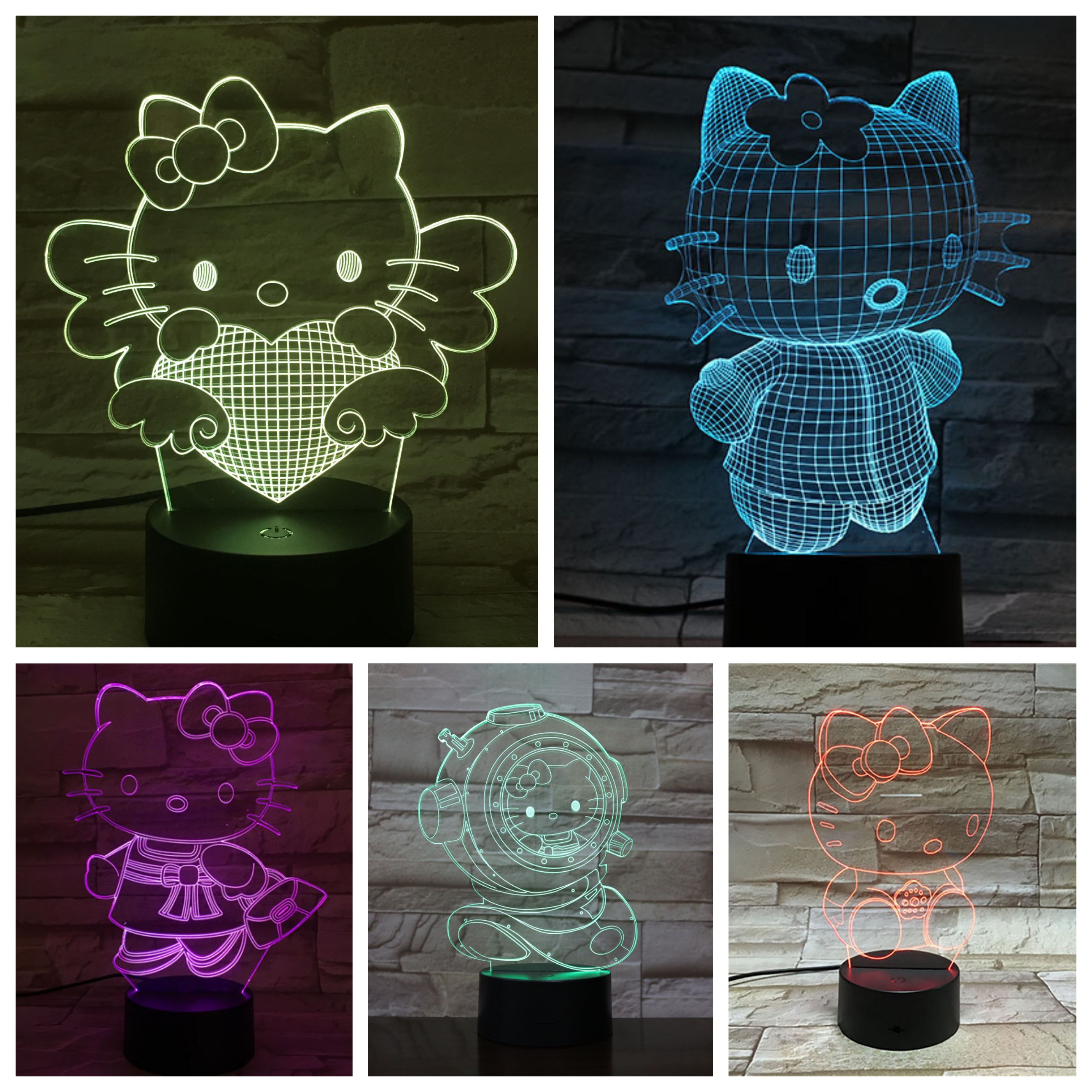 Hello Kitty Night Light LED Cartoon Lampara 3D Illusion Children Kids Gift Decorative Lights Animal Cat Desk lamp bedside DecorHello Kitty Night Light LED Cartoon Lampara 3D Illusion Children Kids Gift Decorative Lights Animal Cat Desk lamp bedside Decor