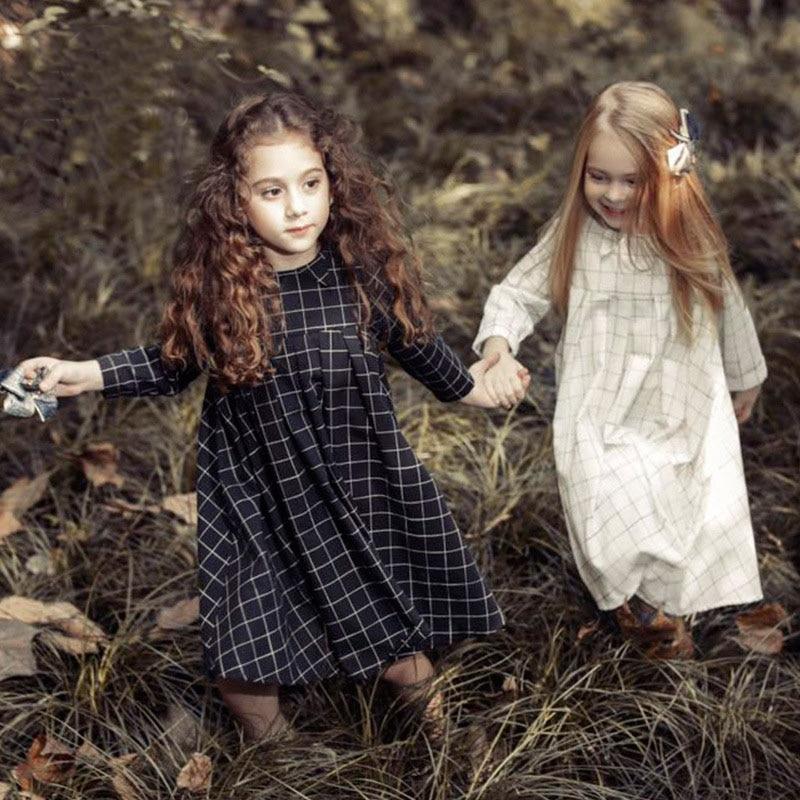 ФОТО maxi long teenage baby girl long sleeve dress summer spring 2017 white black plaid princess dress girl party dress baby birthday