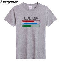 Xuanyutee Level Up HP MP EXP Game Funny T shirt Men Cotton Short Sleeve 3XL O neck Flock Print GreyTee Shirt Homme Drop Shipping
