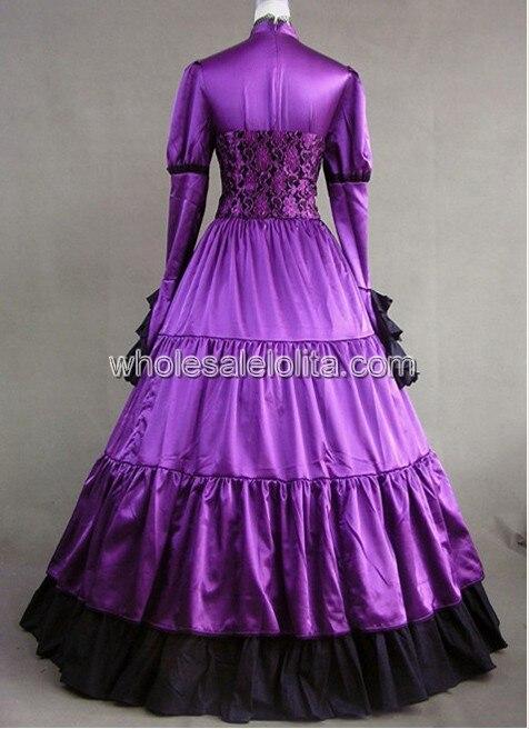 Королевское фиолетовое викторианское готичное платье с корсетом