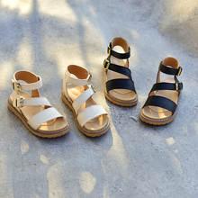 Летняя Детская римские сандалии из натуральной кожи модные туфли