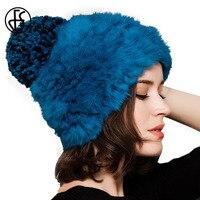 FS Mode Femmes De Fourrure De Lapin Tricot Chapeaux Pour Dames Hiver Vin rouge Bleu Chaud Laine Chapeau Avec Pom Pom Bonnet Tricoté Casquette Femme