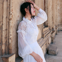 spring flowers lace long sleeve shirt female chiffon cutout embroidered slim top