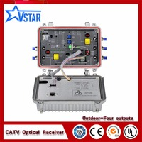 CATV outdoor cable optical node with 4 RF outputs