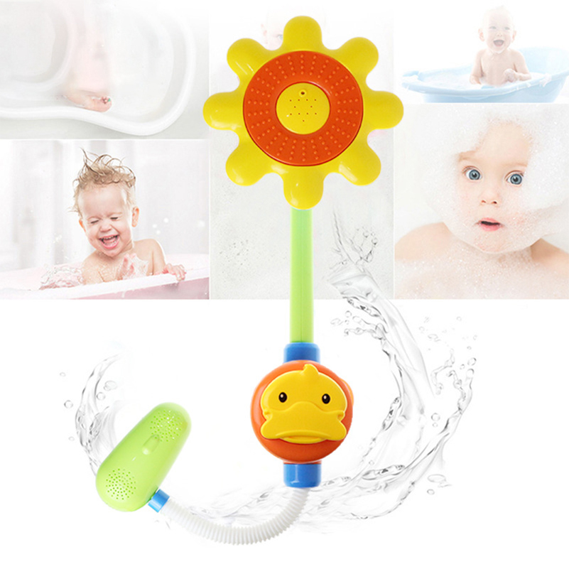 New Born Baby Bath Toys Duck Head Shower Faucet Watering Spray Bathtub Water Bath Toys for Baby Children Shower Swimming Gifts