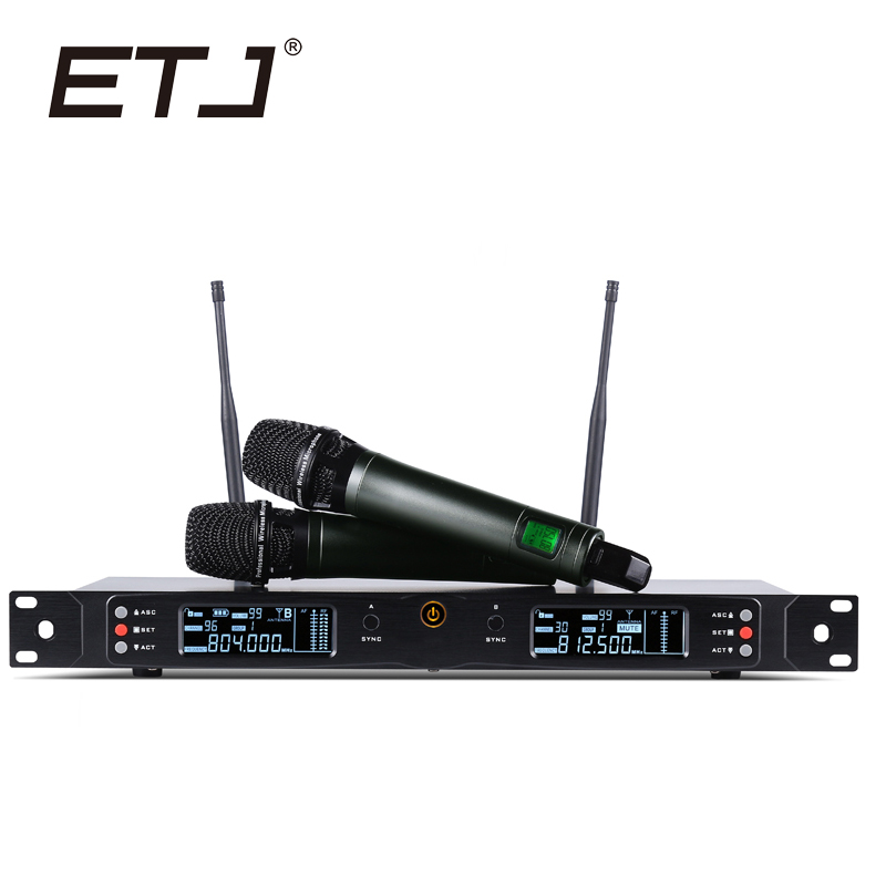 ETJ Brand Professional Dual UHF Wireless Microphone Stage Performance Karaoke Microphones U8000 etj brand ur1000d true diversity professional uhf wireless microphone 2 transmitter 4 receiver stage performance microphone