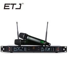 ETJ Performance de Palco Profissional Marca Duplo UHF Microfone Sem Fio Karaoke Microfones U8000