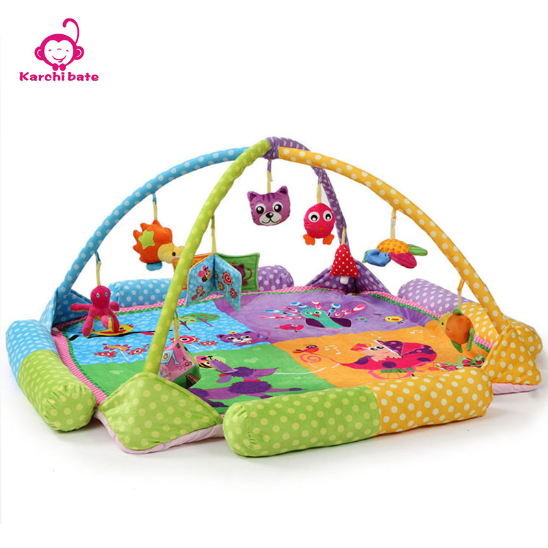 Karchibate Cotton Oversize Baby Developing Activity Gym Rug Peacock Elephant Play Gym Twins Musical Toys Newborn Gifts Play Mat
