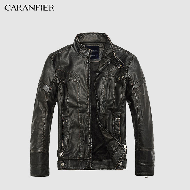 CARANFIER Mens Leather Jackets Men Jacket High Quality Classic Motorcycle Bike Cowboy Jackets Male Plus Velvet Thick Coats M-5XL Men's Jackets & Coats