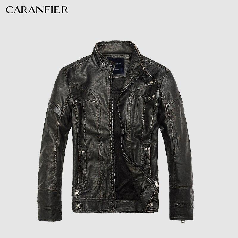 CARANFIER Mens chaquetas de cuero chaqueta de los hombres de alta calidad clásico motocicleta Cowboy chaquetas hombre más terciopelo grueso abrigo M-5XL