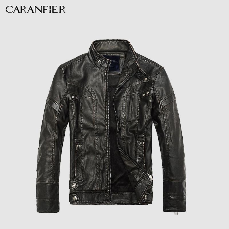 CARANFIER Для мужчин Кожаная куртка Высокое качество модные мотоциклетные Стиль мужской Бизнес Повседневное пальто западный Для мужчин s ковбойские куртки M ~ 5XL