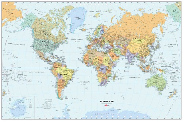 Top Fashion The World Map Modern Home Wall Decor Canvas Picture - Modern world map