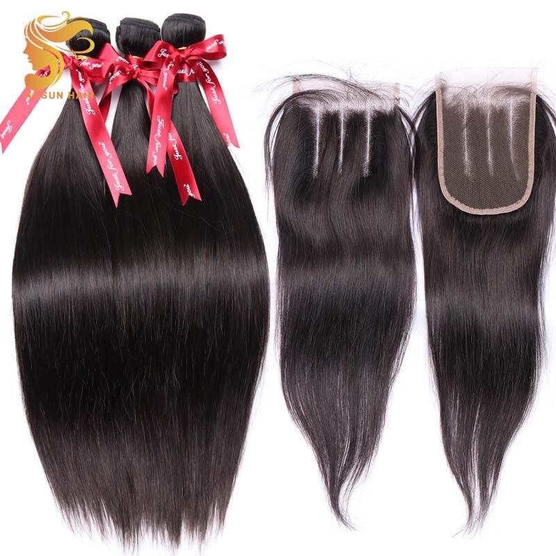 GüNstig Einkaufen Aosun Haar 3,28 Großen Verkauf Brasilianische Gerade Haar 3 Bundles Mit 4*4 Spitze Schließung/top Verschluss 100% Remy Menschliches Haar Verlängerung