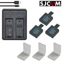 3 шт. SJCAM SJ4000 Батареи + двойной Зарядное устройство + USB кабель для DVR Действие Камера M10 SJ 4000 WI-FI SJ6000 SJ5000X sj7000 sj8000 sj9000