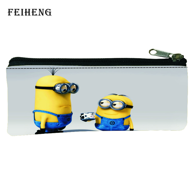 New Style Printing Cartoon Minions Kids School Pencil bags Baby Boys Key Wallets Children Pen Bag Girls Coin Purses Womens Gift cartoon pokemon go purse pocket monster pikachu johnny turtle ibrahimovic zero wallets pen pencil bags boy girl leather wallet