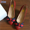 Satin Bowtie Women High Heel Shoes Round Toe Chunky Heel Comfortable Street Shoes 2016 Trendy Shoes Zapatos Femmes Stars Shoe