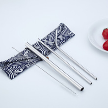 все цены на Stainless Steel Metal Straw Set Rainbow Reusable Drinking Straws with Bag Straw Cleaner Brush Bar Accessories Dropshipping онлайн