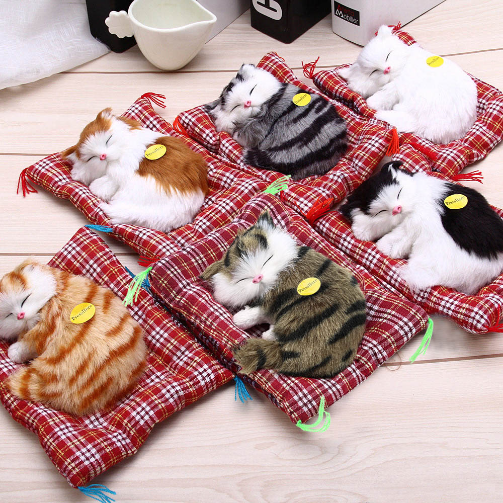 Stuffed Toys Lovely Sleeping Cats Simulation Animal Doll Plush Toy With Sound Kids Toy Decorations Birthday Gift For Children stuffed simulation animal snake anaconda boa plush toy about 280cm doll great gift free shipping w004