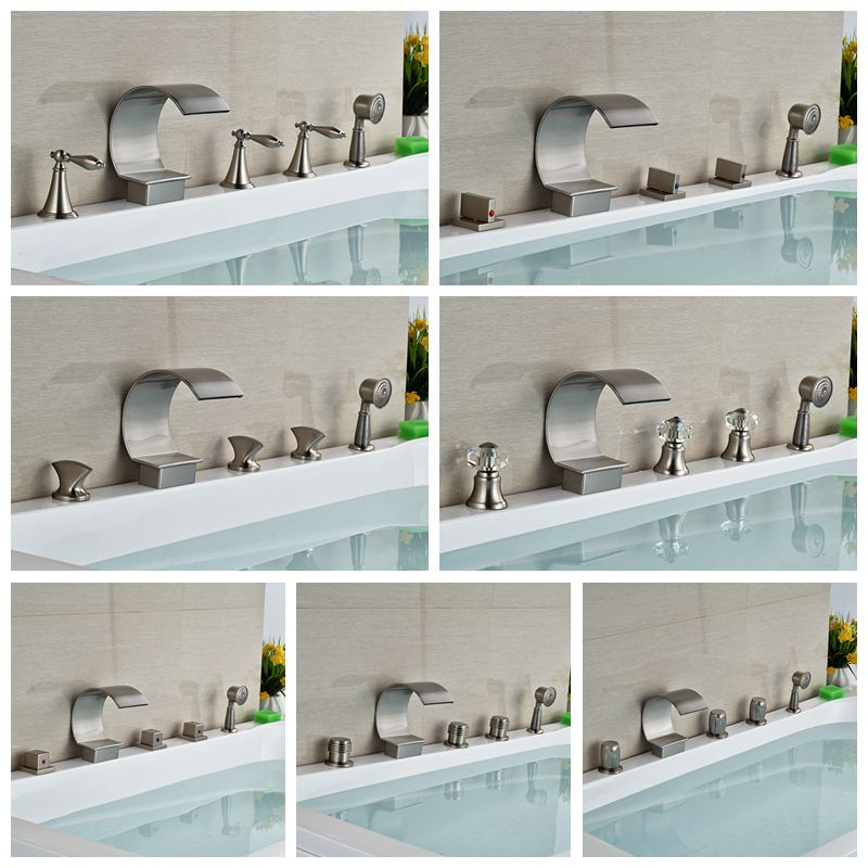 Wholesale And Retail C Curved Waterfall Bathroom Tub Faucet Widespread Mixer Tap W/ Hand Shower Sprayer Brushed Nickel