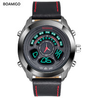 Men Sports Watches BOAMIGO Brand Dual Display Watches Quality Digital LED Wristwatches Genuine Leather 50m Waterproof