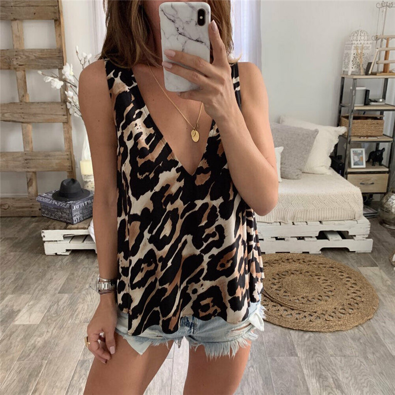 Shirt Clothings Tank-Tops V-Neck Crop Print Trend Leopard Female Summer Outer-Wear New